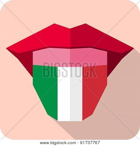 Tongue: Language Web Icon With Flag. Italy
