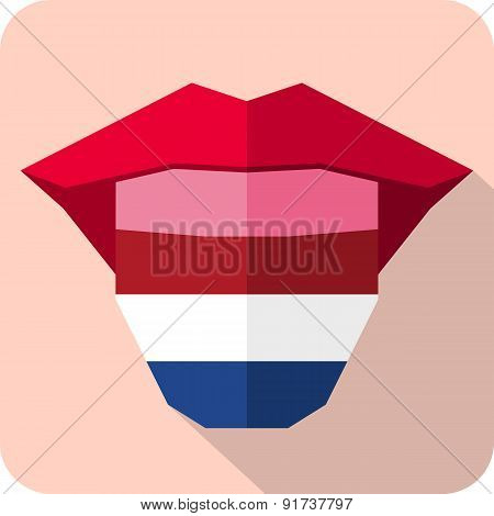 Tongue: Language Web Icon With Flag. Netherlands