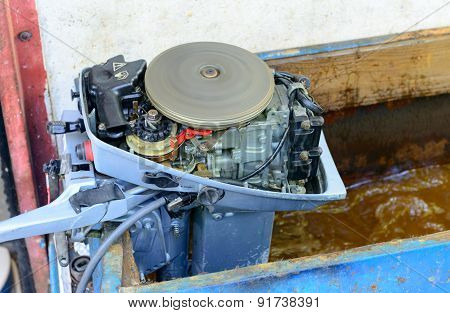 Test Of Small Motor Of Outboard.