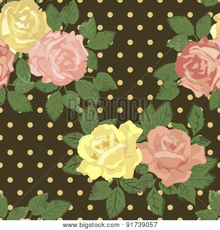 Vector repeating pattern with pink and yellow roses in vintage style.