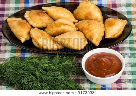 Small Pasties, Bowls With Tomato Sauce, Dill