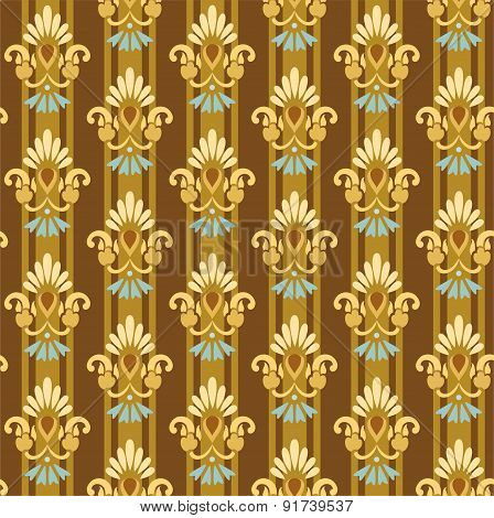 Seamless Floral Golden Patter...
