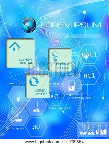Chemical. Vector web and mobile interface infographic template. Flat corporate website design. Multifunctional media background. Editable. Options, Icon, Banner. Chemistry and science concept.