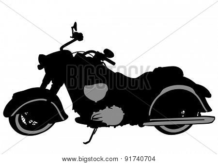 Old retro bike on white background