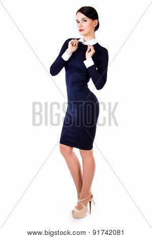 Beautiful Young Woman In A Short Dark Blue Dress