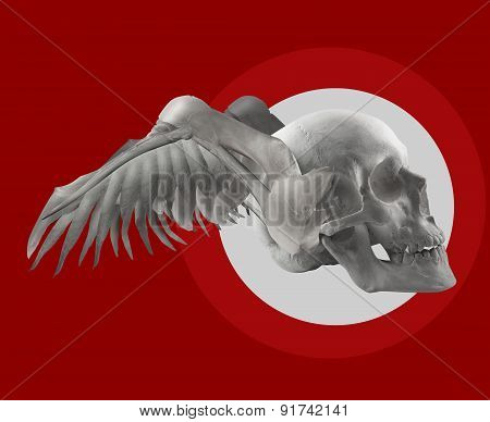 Skull with wings on red composition.
