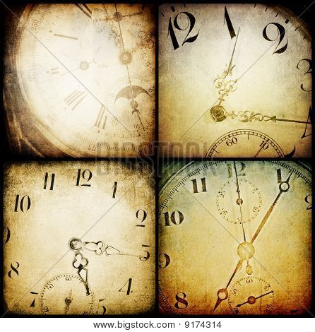 Antique Pocket Clock Faces. ..grunge Backgrounds Collection.