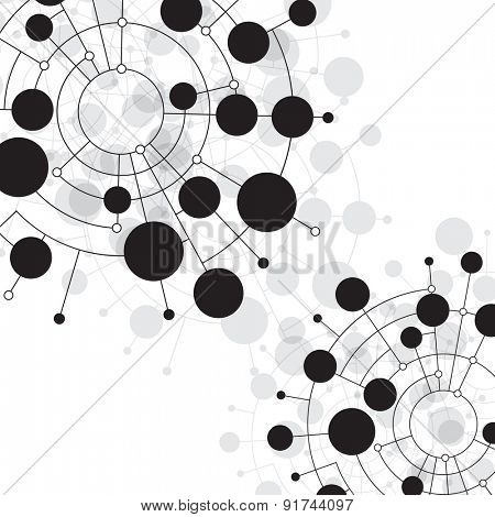 Abstract dots and circles connected by lines and curves. Concept of operation of computer network work. Background the nerve cells of the human. File is saved in AI10 EPS version.