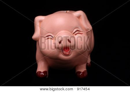 Laughing Piggy Bank Direct On Black