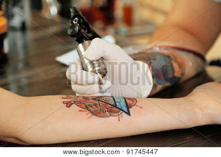 Tattoo artist at work, close-up
