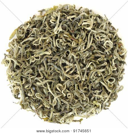 Spring Yunnan Simao Premium Green Tea  Gao Shan Yin Ya In Round Shape Isolated Top View