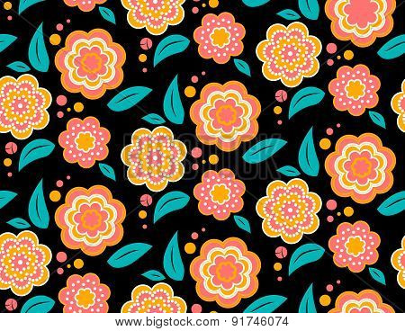 Seamless spring flower pattern on black background. Ukrainian style
