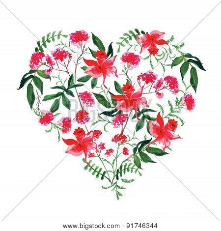 Watercolor Wild Flowers Vector Design Heart