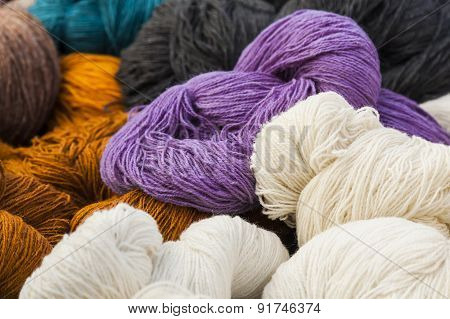 Skeins of natural wool.