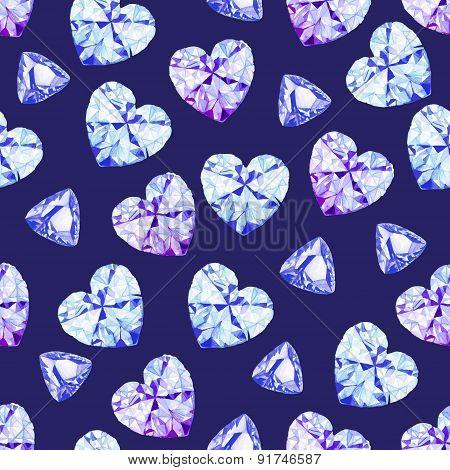 Navy Diamonds Watercolor Seamless Vector Pattern