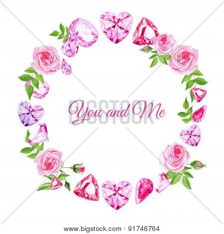 Pink Roses And Diamonds Vintage Vector Design Frame
