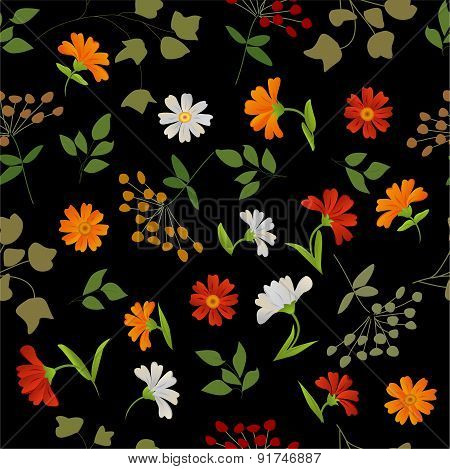 Vector texture of flowers and leaves.