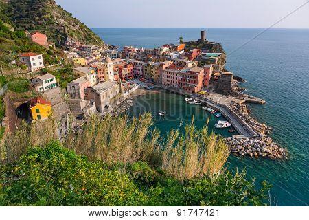 Vernazza town on the coast of Ligurian Sea, Italy