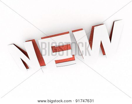 3D rendering of the cut out  word new in white and red