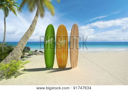 3D rendering of three colorful surf boards on a tropical beach. Fake inexistant brand names and symbols