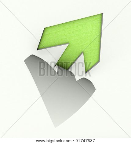 3D rendering of an arrow paper cut out in green and white