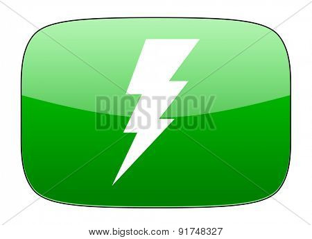 bolt green icon flash sign