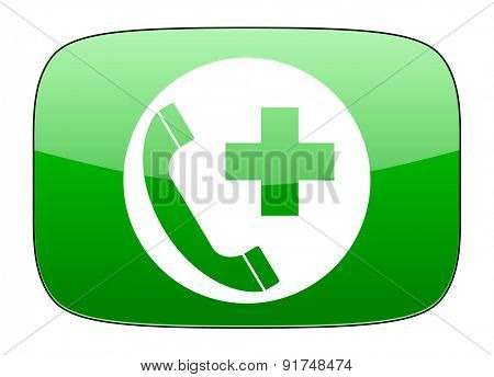 emergency call green icon