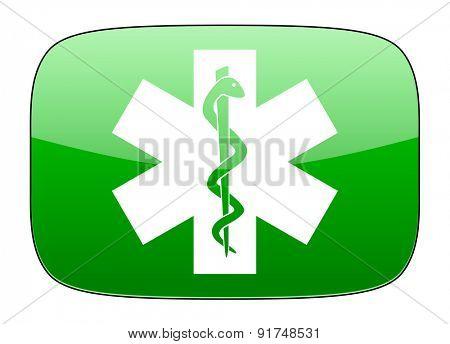 emergency green icon hospital sign