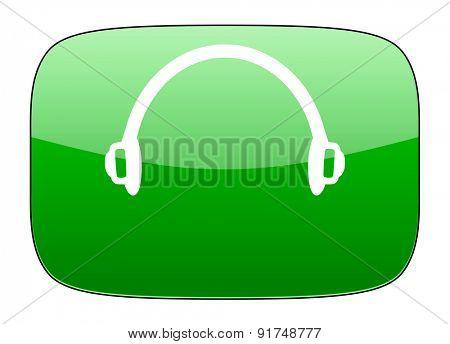 headphones green icon