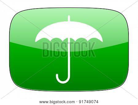 umbrella green icon protection sign