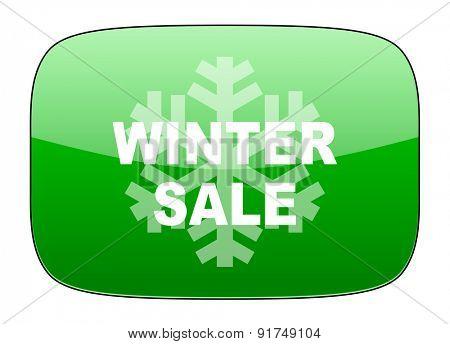 winter sale green icon