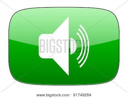 volume green icon music sign