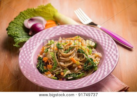 spaghetti with vegetarian ragout, selective focus
