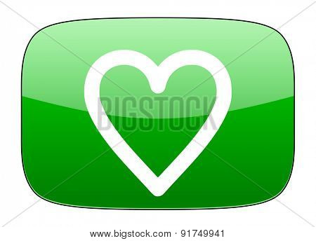 heart green icon love sign