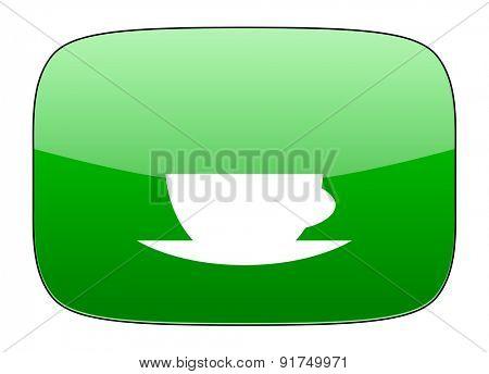 espresso green icon caffe cup sign
