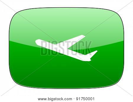 deparures green icon plane sign