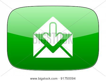 email green icon post message sign