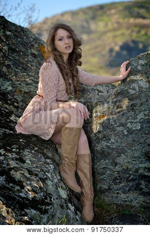 young beautiful woman portrait outdoor in summer