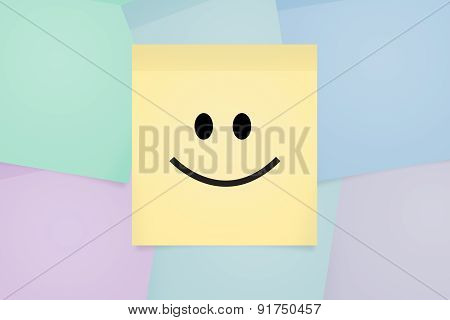 Smily Face Expression On Sticky Post