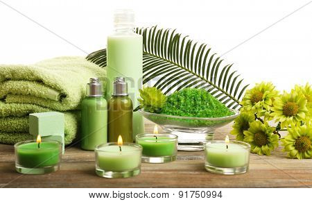 Beautiful spa composition with candles on light background
