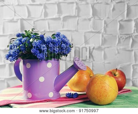 Beautiful bouquet of muscari - hyacinth with apples on wall background