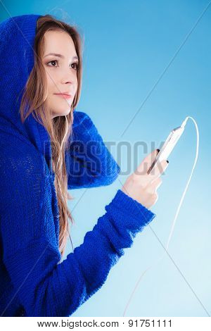 Teen Girl With Smartphone Listening Music