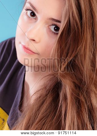 Girl With Brown Long Healthy Loose Hair