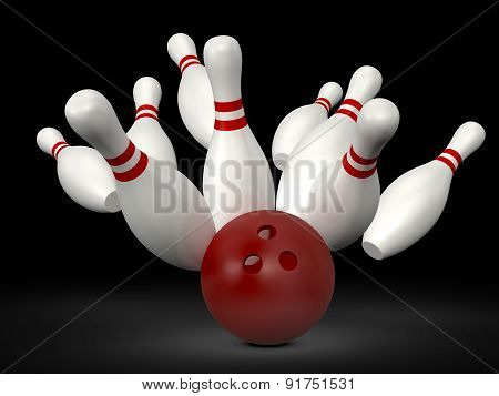 Bowling Ball Crast Into Pins