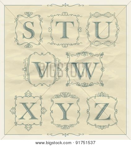 Retro calligraphic letters set in monogram retro frames, alphabet logo set - S, T, U, V, W, X, Y, Z