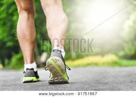Athlete Runner Feet Running On Road.