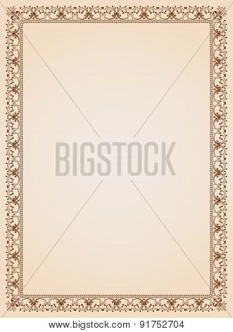 Decorative Border Frame Certificate Template 4 Vector