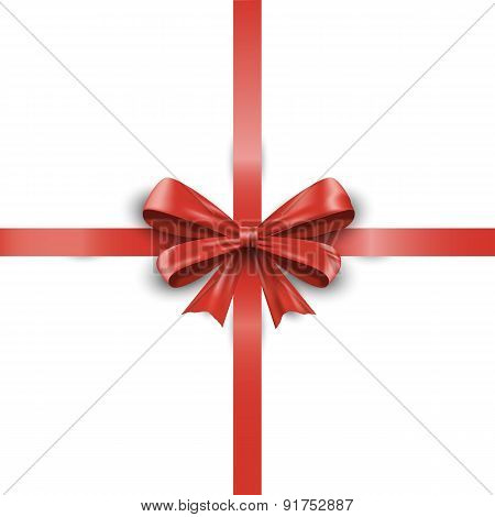 Red Ribbon With Bow Isolated On White Background.