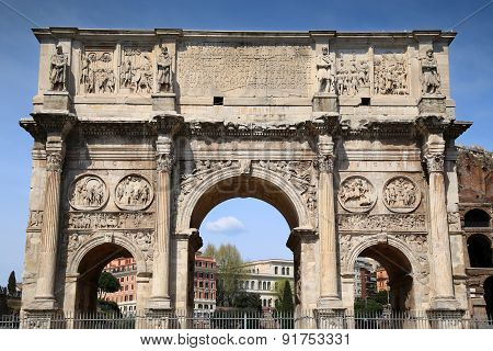 Arco De Constantino And Colosseum In Rome, Italy