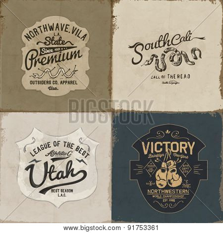 vintage label sign with type